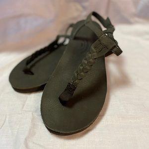 Rainbow Braided T-Strap Sandals